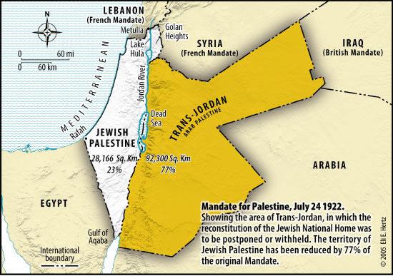 La Palestine Juive et la Transjordanie sous mandat Britannique avant 1948